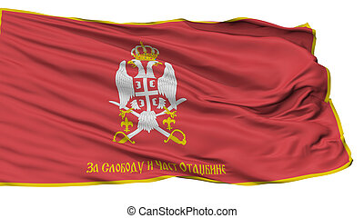 Serbian Armed Forces Reverse Flag, Isolated On White...