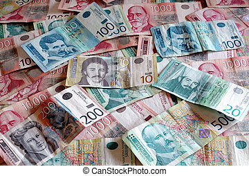 Serbian Currency - A Heap of Various Dinar Banknotes