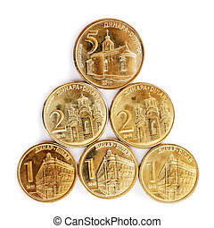 serbian, dinar, mønter
