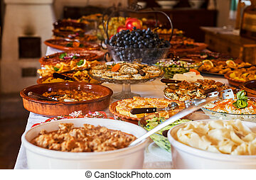 serbian food - traditional Serbian lunch, note shallow depth...
