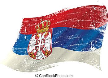 Serbian grunge flag - A grunge Serbian flag in the wind for...