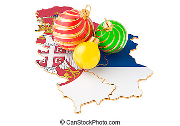 Serbian map with colored Christmas balls. New Year and Christmas holidays concept, 3D rendering