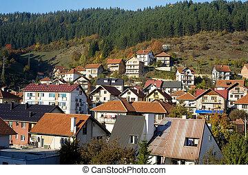 Serbian mountain village in the sunshine day