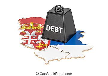 serbian, nacional, deuda, o, presupuesto, déficit, financiero, crisis, concepto, 3d, interpretación