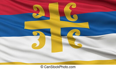 Serbian Orthodox Church Religious Close Up Waving Flag -...