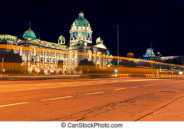 Serbian parlament in Belgrade at night