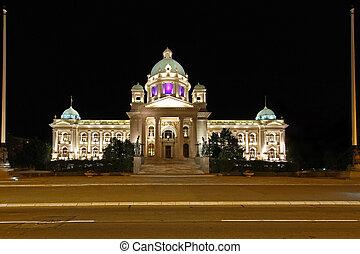 Serbian Parliament Building in Belgrade at Night