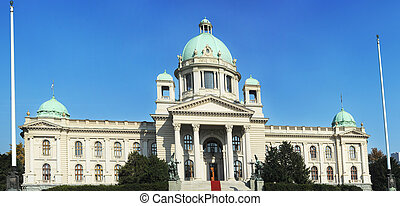 Serbian parliament in Belgrade. Construction on the building...