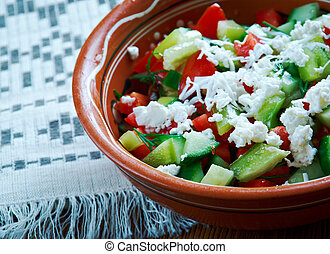 Serbian Salad - vegetable salad made from diced fresh ...