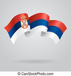 Serbian waving Flag. Vector illustration Eps 8.