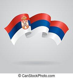 Serbian waving Flag. Vector illustration Eps 8.