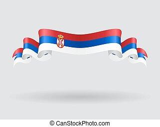 Serbian wavy flag. Vector illustration.