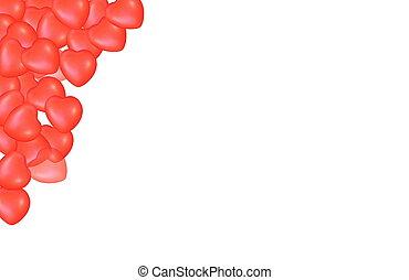 serca, abstrakcyjny, czerwone tło