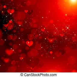 serca, abstrakcyjny, czerwone tło, valentine