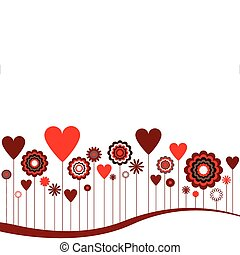 serca, abstrakcyjny, kwiaty
