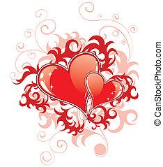 serca, abstrakcyjny, valentines dzień, florals