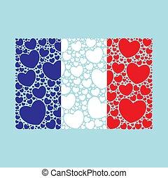 serca, bandera, robiony, francja