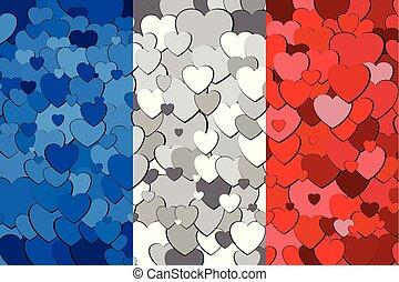 serca, bandera, robiony, tło, francuski
