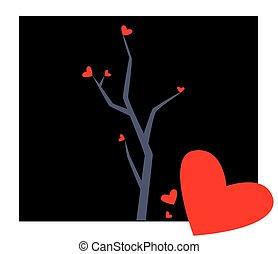 serca, drzewo, ilustracja