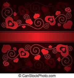 serca, dzień, tło, valentine