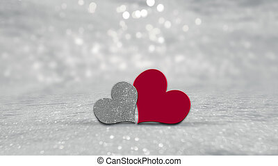 serca, list miłosny, srebro, tło, dzień