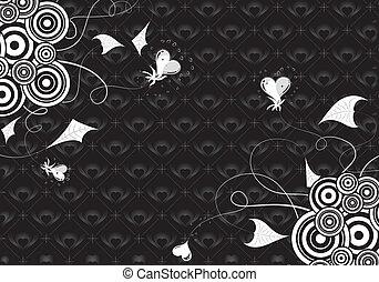 serca, list miłosny, tło, florals, dzień