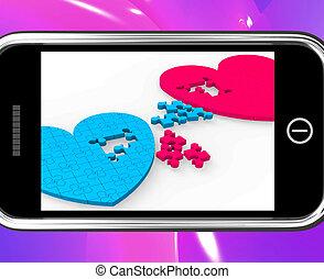 serca, pokaz, smartphone, zobowiązanie, dwa