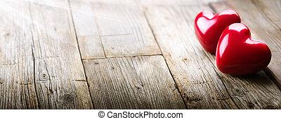serca, promienie, miłość, światło słoneczne