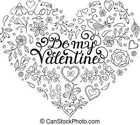 serca, ptaszki, kwiaty, karta, list miłosny