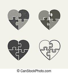 serca, puzzle., ikony