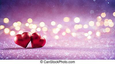 serca, różowy, blask, para, bokeh, światła, czerwony