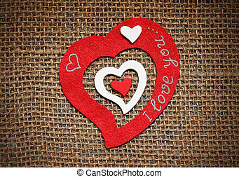serca, sackcloth., karta, valentine
