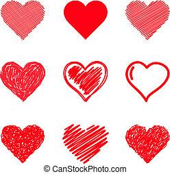serca, set., wektor, drawn., ręka
