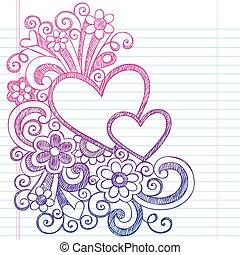 serca, sketchy, wektor, miłość, doodle