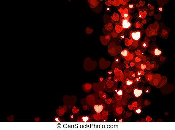 serca, valentine dzień, tło, czerwony
