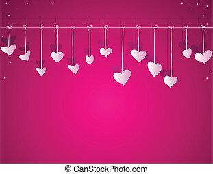 serca, wektor, dzień, tło, valentine