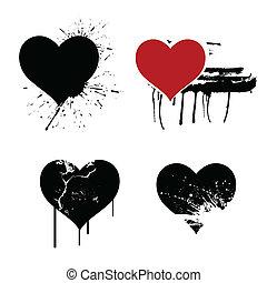 serca, wektor, grunge