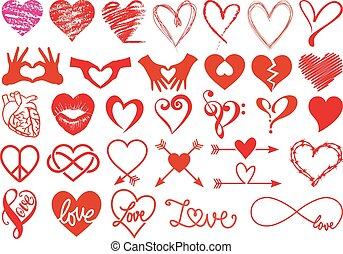 serca, wektor, komplet, miłość