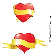 serca, wstążka, połyskujący, żółty, czerwony