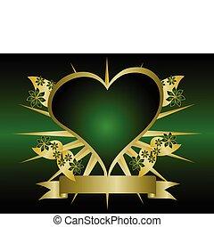 serca, zielony, złoty, tło