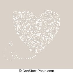 serce, ślub, karta, pastel
