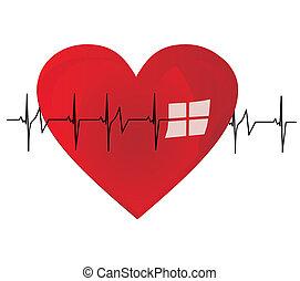 serce, życie, pobicie, bębnić, stong