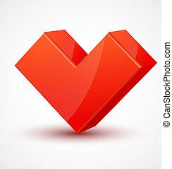 serce, 3d, błyszczący, czerwony, sześcienny