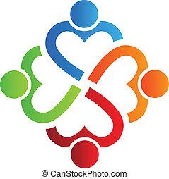 serce, 4, logo, drużyna, wektor