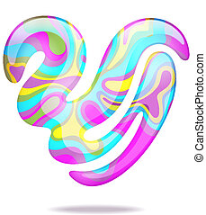 serce, abstrakcyjny, 3d