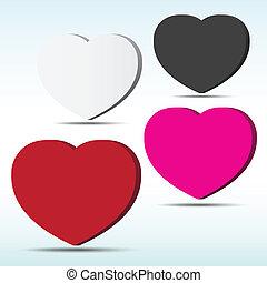 serce, abstrakcyjny, bańka, tło., mowa, 3d