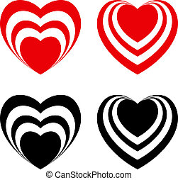 serce, abstrakcyjny, komplet, valentine