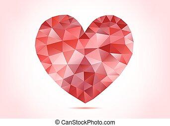 serce, abstrakcyjny, poly, wektor, niski, czerwony