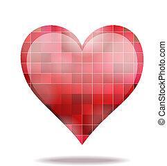 serce, abstrakcyjny, szkarłat, ikona, mozaika, 3d