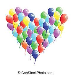 serce, abstrakcyjny, wektor, balloon
